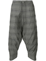 Forme D'expression Drop Crotch Drawstring Trousers Grey