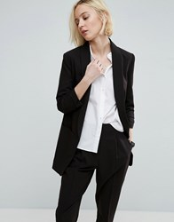 Asos Mix And Match Blazer With Rouched Sleeve Black