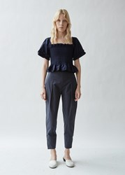 Molly Goddard Archie Tapered Cotton Trousers Navy
