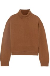 Rejina Pyo Lyn Asymmetric Cashmere Turtleneck Sweater Brown
