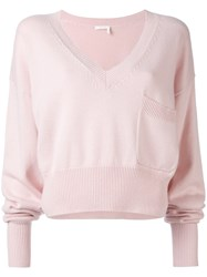 Chloe V Neck Cropped Sweater Women Cotton Cashmere S Pink Purple