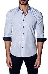 Jared Lang Slim Fit Sport Shirt Sky Blue Stars