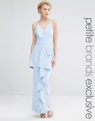Jarlo Petite Cami Strap Maxi Dress With Ruffle Front Detail Soft Blue