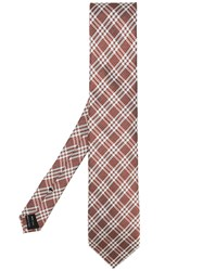 Tom Ford Check Pattern Tie Brown