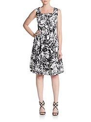 Ellen Tracy Pleated Abstract Floral Print Stretch Cotton Fit And Flare Dress Black White