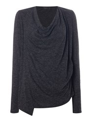 Label Lab Cowl Front Cardigan Grey