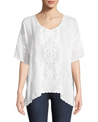 Johnny Was Demoran V Neck Easy Top Plus Size White