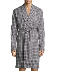 Hanro Emilien Plaid Flannel Robe Brown Red