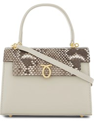 Launer Judi Python Skin Leather Tote Beige