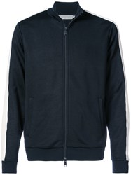 Vince Zipped Sports Jacket With Stripe Cotton Polyester Blue