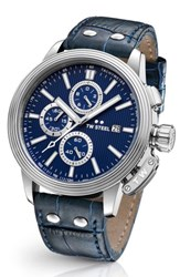 Tw Steel Men's Ceo Adesso Chronograph Leather Strap Watch 48Mm Blue Silver