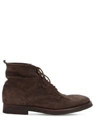 Alberto Fasciani Lace Up Washed Suede Boots Brown