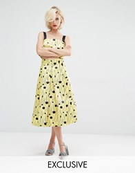 Horrockses Inky Spot Co Ord Full Midi Skirt Yellow Black