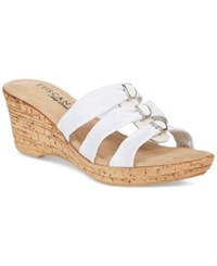 Easy Street Shoes Tuscany By Andrea Wedge Sandals Women's White