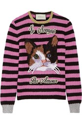 Gucci Embroidered Striped Wool And Cashmere Blend Sweater Baby Pink