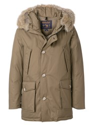Woolrich Hooded Padded Coat Cotton Feather Down Polyamide Coyote Fur Brown