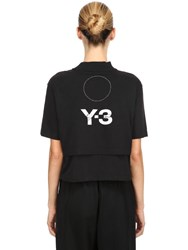 Y 3 Stacked Logo Cropped Jersey T Shirt Black