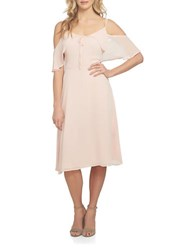 Cynthia Steffe Off The Shoulder Crinkle Chiffon A Line Dress Rosy Glow