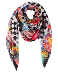 Dsquared Printed Cotton And Silk Blend Scarf