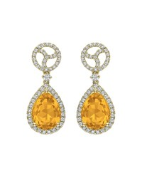 Kiki Mcdonough Signature 18K Gold Diamond And Citrine Drop Earrings Yellow