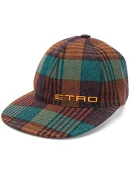 Etro Plaid Baseball Cap Brown