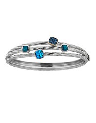 Lord And Taylor Sterling Silver Topaz Bangle Bracelet Blue