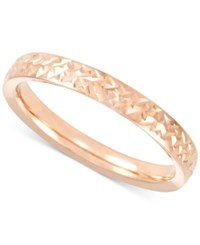 Macy's Thin Textured Band In 14K Gold Rose Gold Or White Gold Made In Italy
