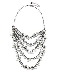Lydell Nyc Multi Row Simulated Gray Pearl Necklace