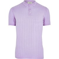 River Island Light Purple Muscle Fit Ribbed Polo Shirt