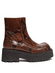 Marni Square Toe Python Print Leather Ankle Boots Black Brown