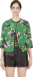 Jonathan Saunders Green Floral Print Cropped Boxy Jacket