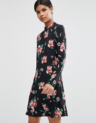 Asos High Neck Skater Dress With Open Back In Floral Navy Floral Multi