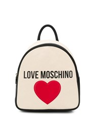 Love Moschino Heart Patch Backpack Neutrals