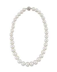 Belpearl 14K Graduated White Button South Sea Pearl Necklace