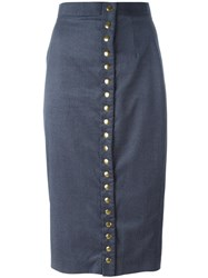 Olympia Le Tan Buttoned Skirt Blue