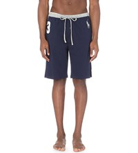 Ralph Lauren Branded Cotton Jersey Sweat Shorts Cruise Navy Grey