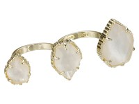 Kendra Scott Naomi Adjustable Double Ring Gold Ivory Mother Of Pearl Ring