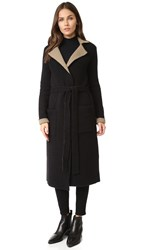 Atm Anthony Thomas Melillo Felt Wrap Reversible Coat Black Toffee