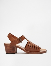 H By Hudson Ios Leather Heeled Sandals Tan