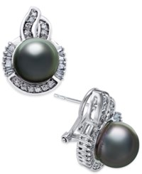 Macy's Cultured Tahitian Pearl 10Mm And Diamond 5 8 Ct. T.W. Stud Earrings In 14K White Gold