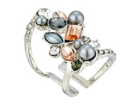 Guess Clustered Stone Knuckle Ring Silver Crystal Peach 2 Ring