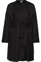 Issa Belted Stretch Wool Coat Black