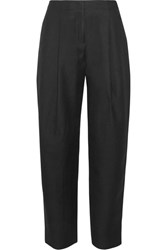 Acne Studios Selah Wool Twill Wide Leg Pants Black