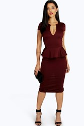 Boohoo Slit Neck Cap Sleeve Peplum Midi Dress Berry