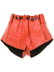 Andrea Bogosian Leather Shorts Red
