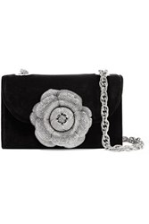 Oscar De La Renta Tro Crystal Embellished Velvet And Suede Shoulder Bag Black