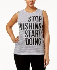 Ideology Plus Size Graphic Tank Top Only At Macy's White Stripe