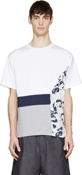 Msgm White And Grey Floral Toilet Paper Edition T Shirt