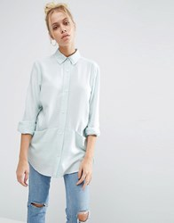 Asos Oversized Twill Shirt With Pocket Detail Dusty Aqua Blue