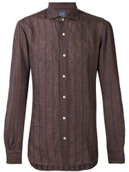 Barba Striped Shirt Men Linen Flax 43 Brown
